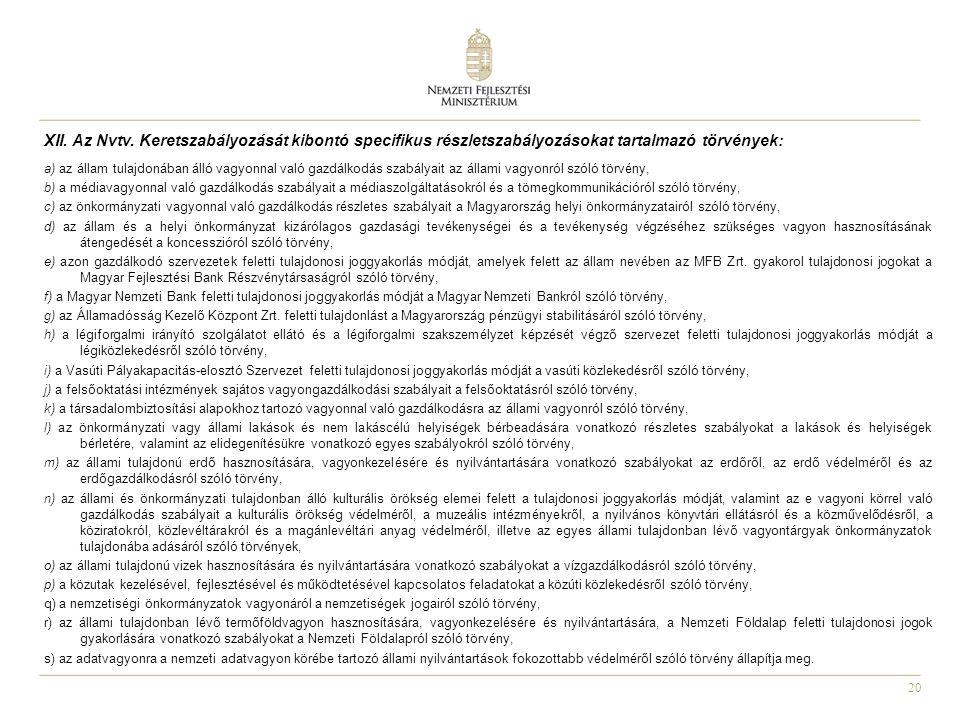 XII. Az Nvtv. Keretszabályozását kibontó specifikus részletszabályozásokat tartalmazó törvények: