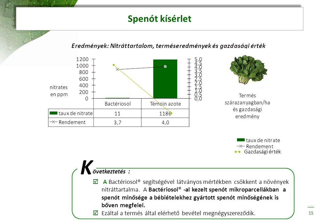 K Spenót kísérlet övetkeztetés :