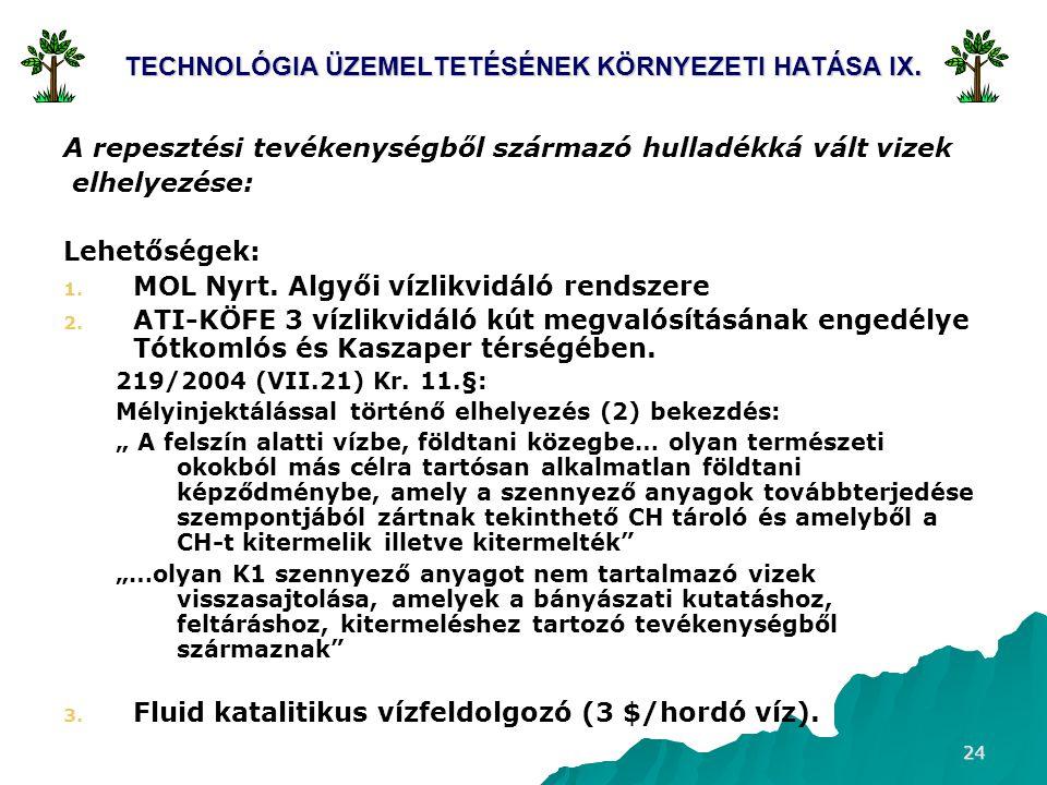 TECHNOLÓGIA ÜZEMELTETÉSÉNEK KÖRNYEZETI HATÁSA IX.