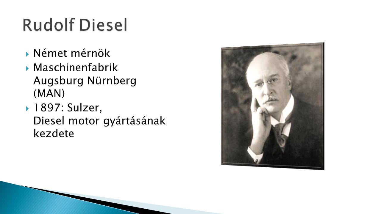 Rudolf Diesel Német mérnök Maschinenfabrik Augsburg Nürnberg (MAN)