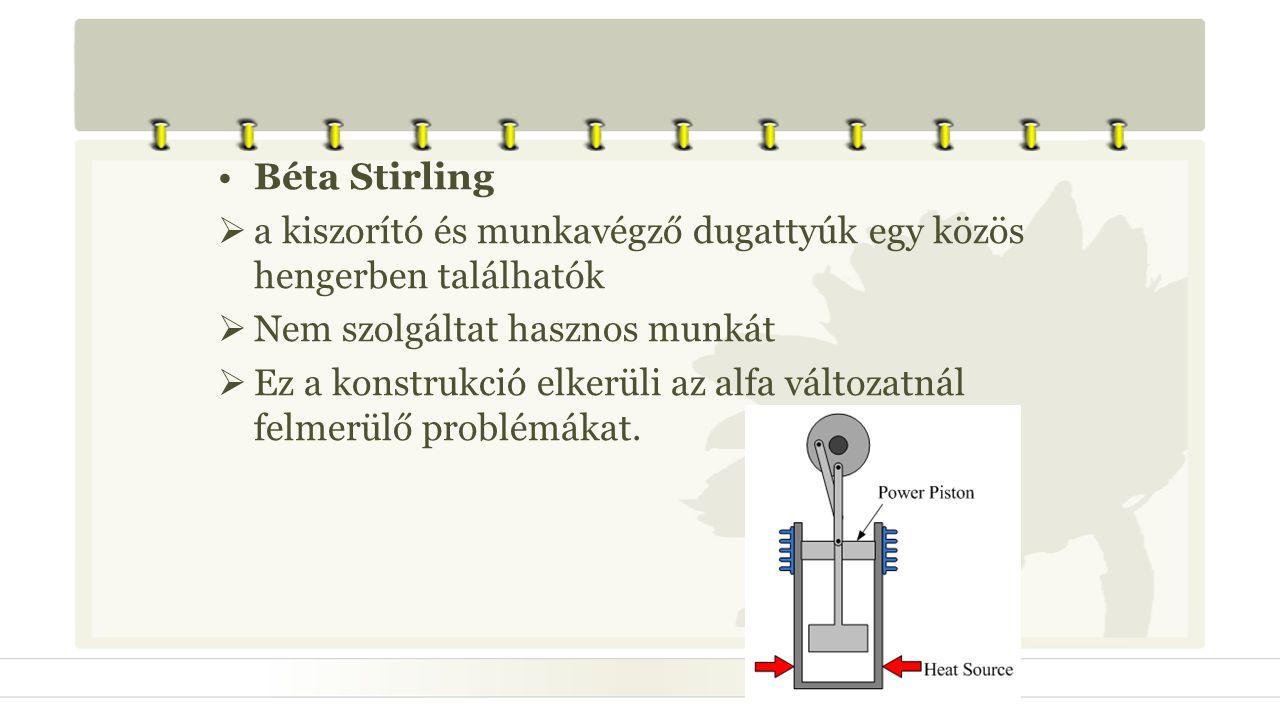 Béta Stirling a kiszorító és munkavégző dugattyúk egy közös hengerben találhatók. Nem szolgáltat hasznos munkát.