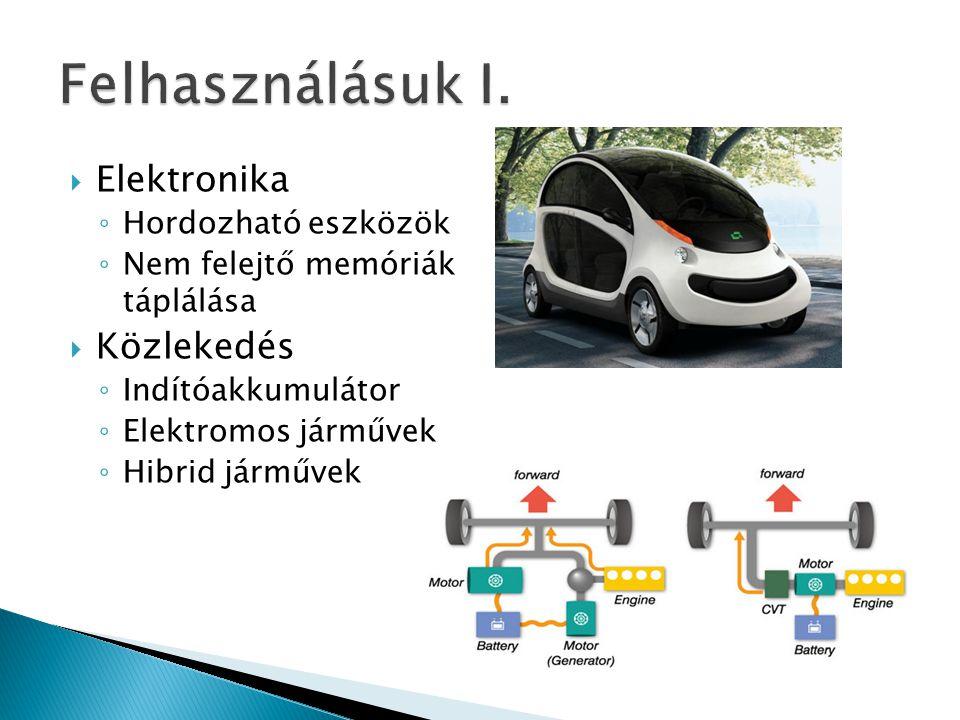 Felhasználásuk I. Elektronika Közlekedés Hordozható eszközök