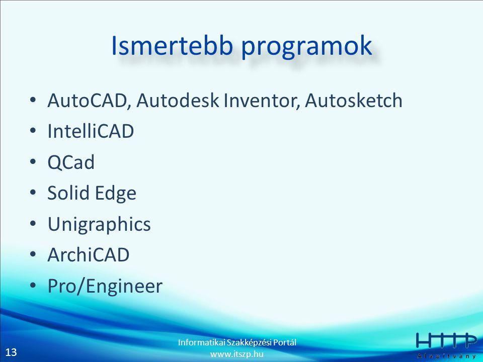 Ismertebb programok AutoCAD, Autodesk Inventor, Autosketch IntelliCAD