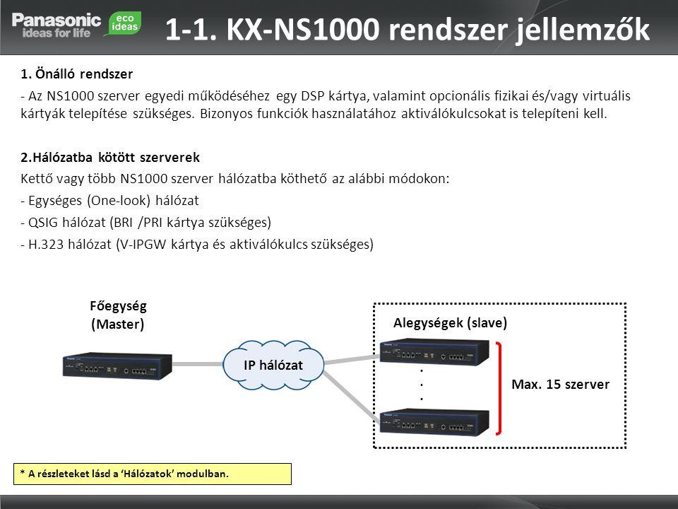 1-1. KX-NS1000 rendszer jellemzők