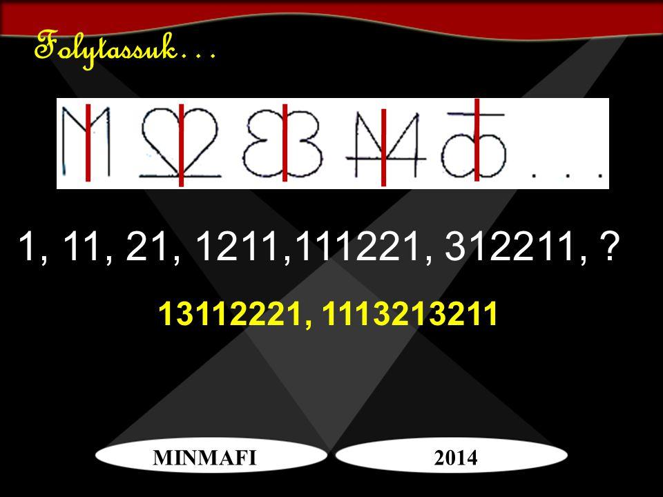 Folytassuk… 1, 11, 21, 1211,111221, 312211, 13112221, 1113213211