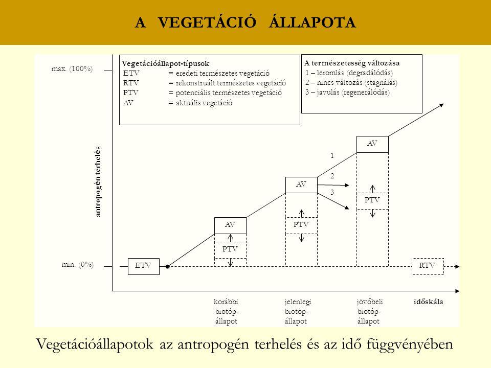 Vegetációállapotok az antropogén terhelés és az idő függvényében