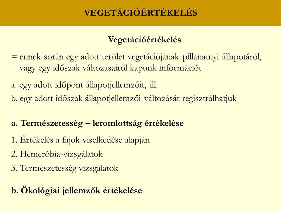 VEGETÁCIÓÉRTÉKELÉS Vegetációértékelés.