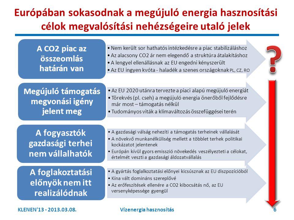 Európában sokasodnak a megújuló energia hasznosítási célok megvalósítási nehézségeire utaló jelek
