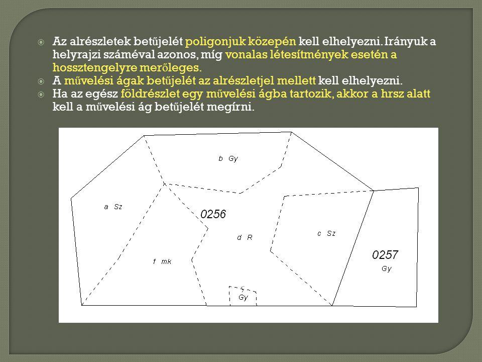 Az alrészletek betűjelét poligonjuk közepén kell elhelyezni