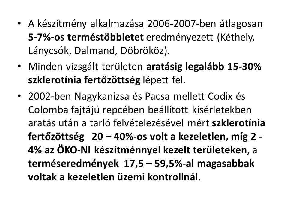 A készítmény alkalmazása 2006-2007-ben átlagosan 5-7%-os terméstöbbletet eredményezett (Kéthely, Lánycsók, Dalmand, Döbrököz).