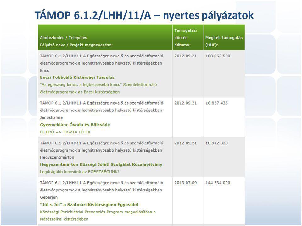 TÁMOP 6.1.2/LHH/11/A – nyertes pályázatok