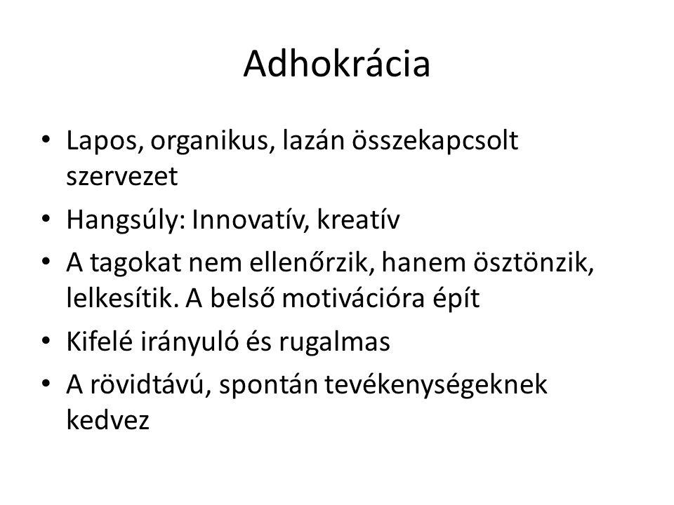 Adhokrácia Lapos, organikus, lazán összekapcsolt szervezet