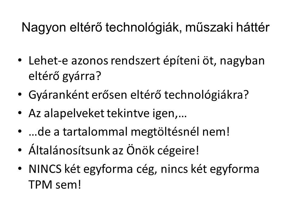 Nagyon eltérő technológiák, műszaki háttér