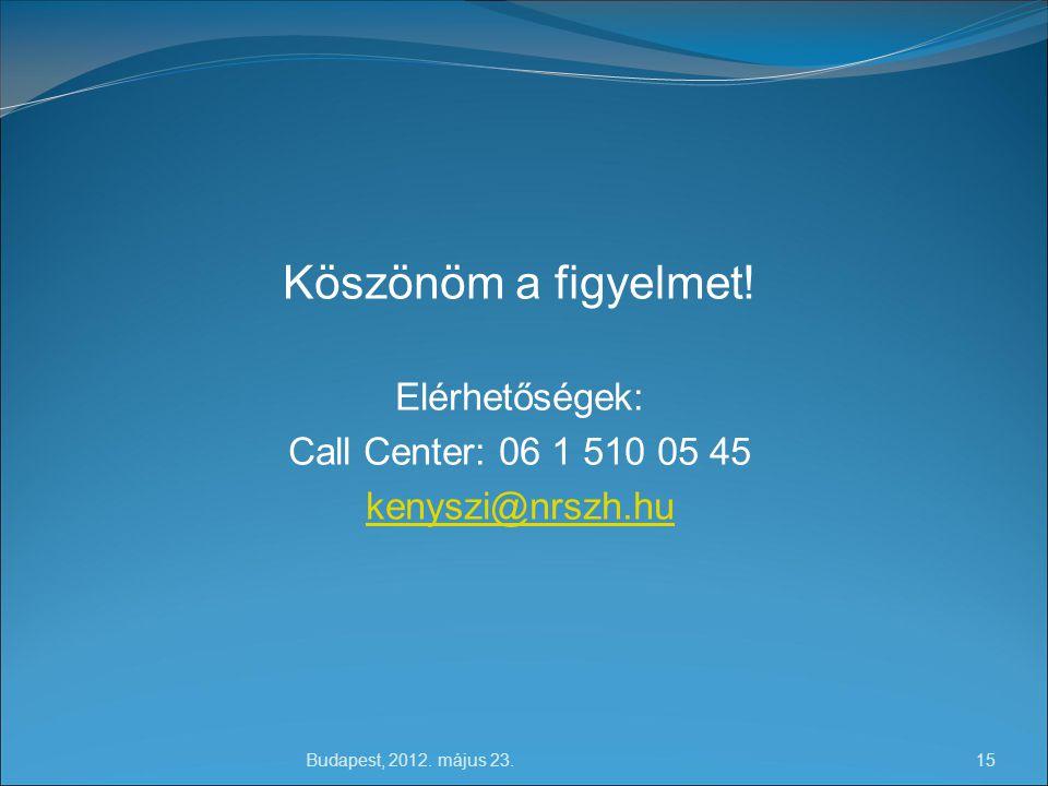 Köszönöm a figyelmet! Elérhetőségek: Call Center: 06 1 510 05 45