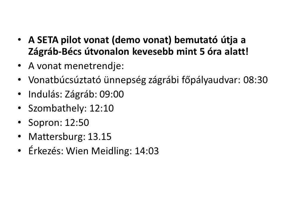 A SETA pilot vonat (demo vonat) bemutató útja a Zágráb-Bécs útvonalon kevesebb mint 5 óra alatt!