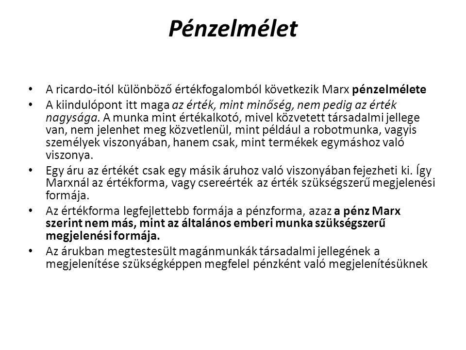 Pénzelmélet A ricardo-itól különböző értékfogalomból következik Marx pénzelmélete.