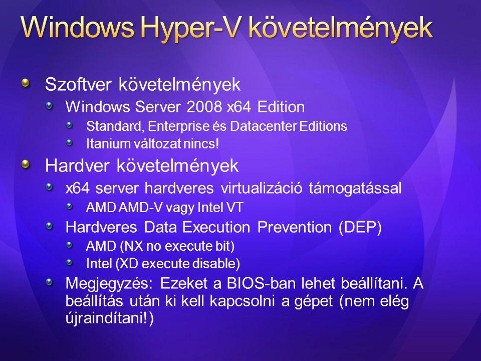 Windows Hyper-V követelmények