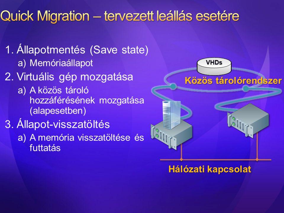Quick Migration – tervezett leállás esetére