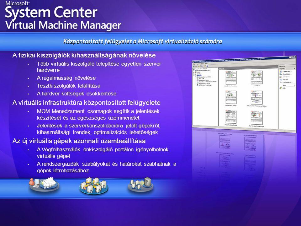 Központosított felügyelet a Microsoft virtualizáció számára