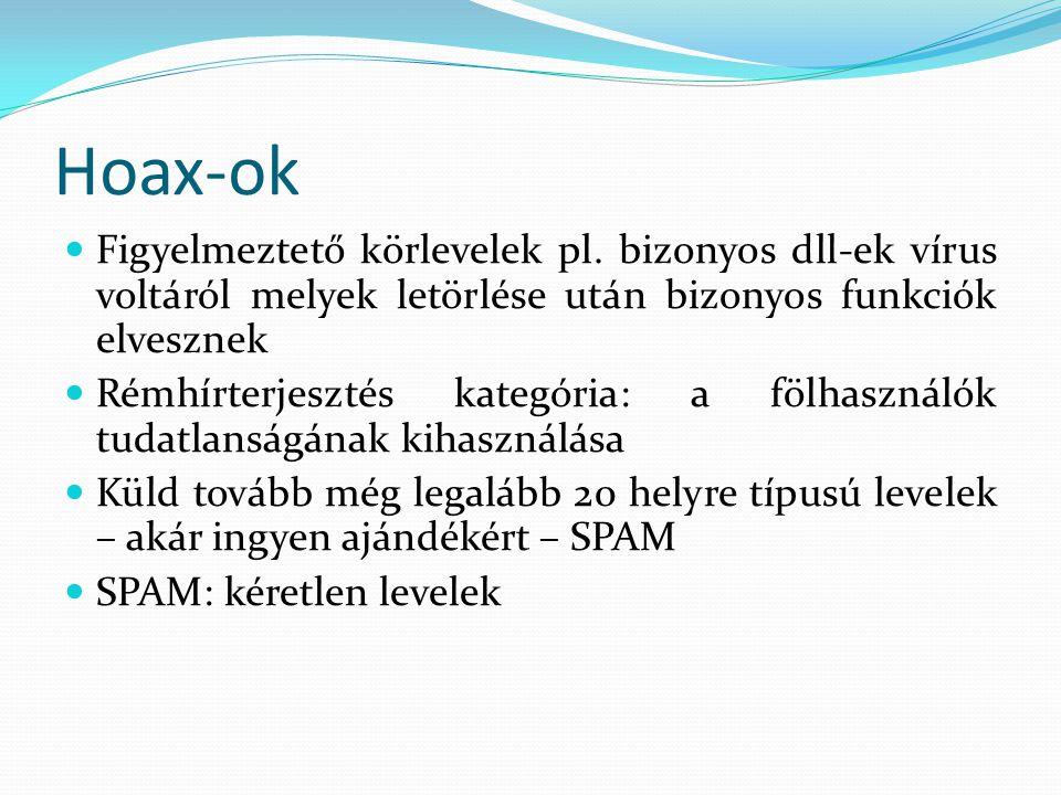 Hoax-ok Figyelmeztető körlevelek pl. bizonyos dll-ek vírus voltáról melyek letörlése után bizonyos funkciók elvesznek.