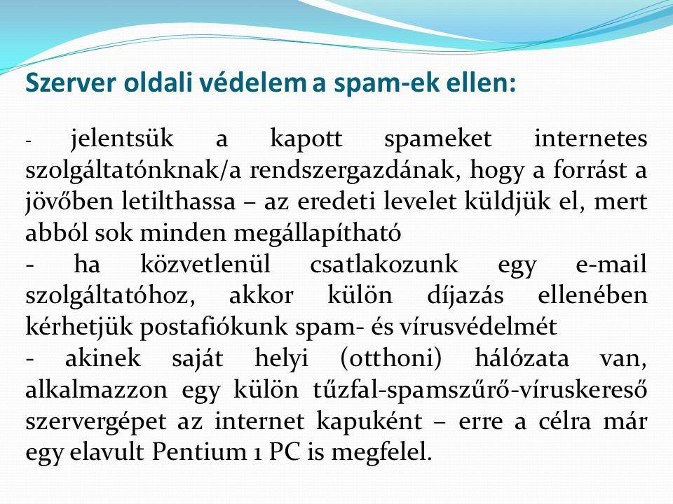 Szerver oldali védelem a spam-ek ellen: