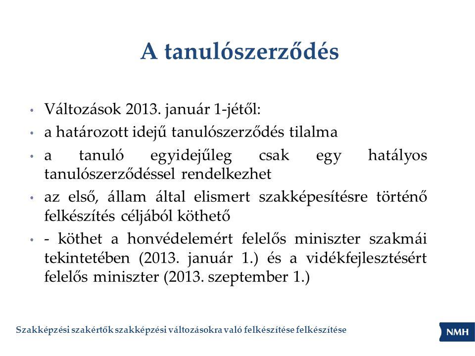 A tanulószerződés Változások 2013. január 1-jétől: