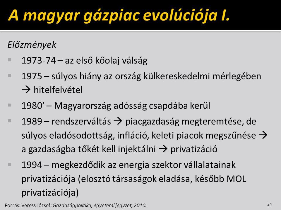 A magyar gázpiac evolúciója I.