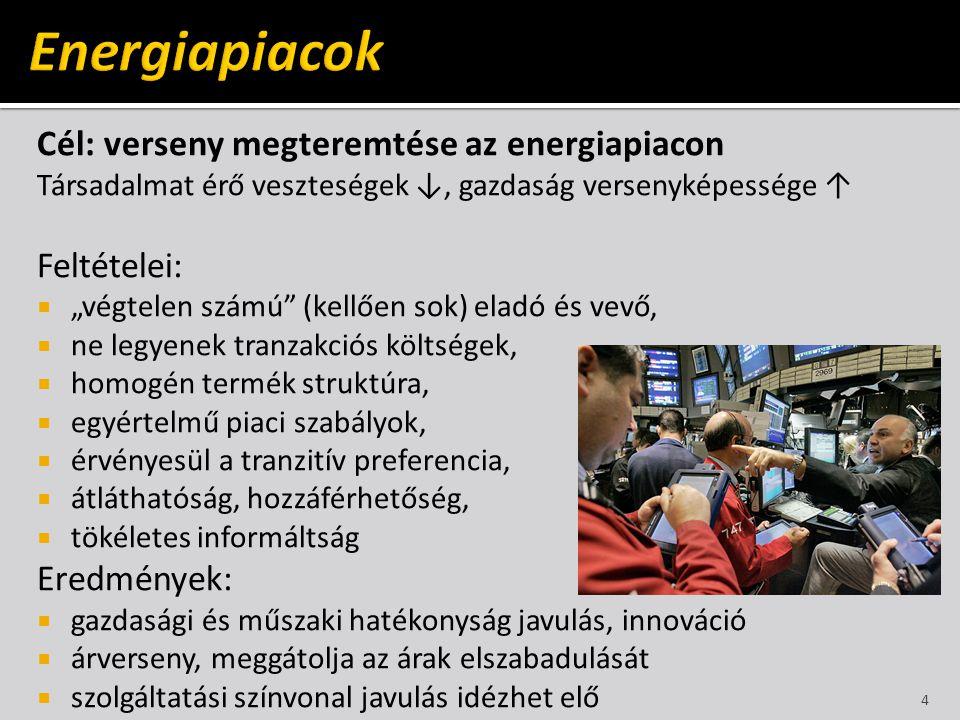 Energiapiacok Cél: verseny megteremtése az energiapiacon Feltételei: