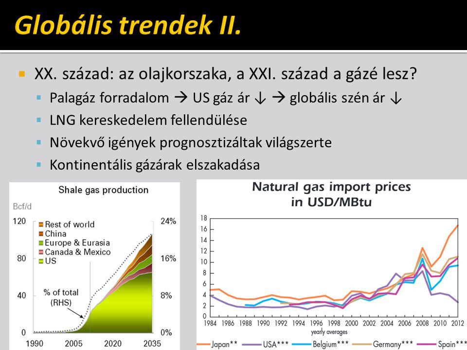 Globális trendek II. XX. század: az olajkorszaka, a XXI. század a gázé lesz Palagáz forradalom  US gáz ár ↓  globális szén ár ↓