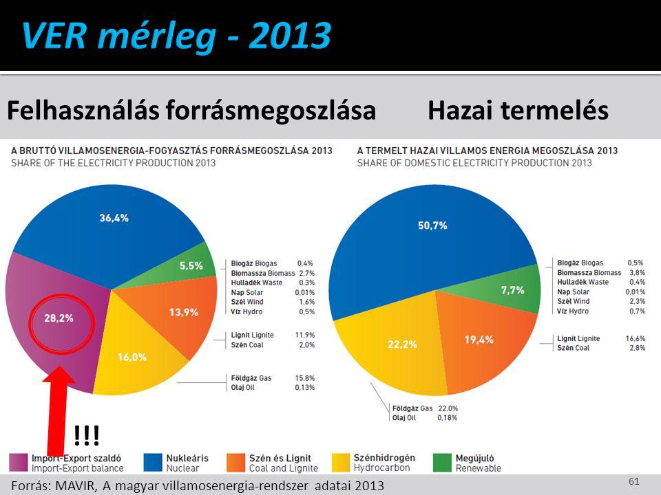 VER mérleg - 2013 Felhasználás forrásmegoszlása Hazai termelés !!!
