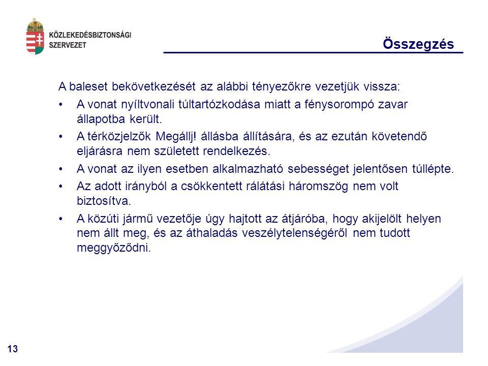 Összegzés A baleset bekövetkezését az alábbi tényezőkre vezetjük vissza: