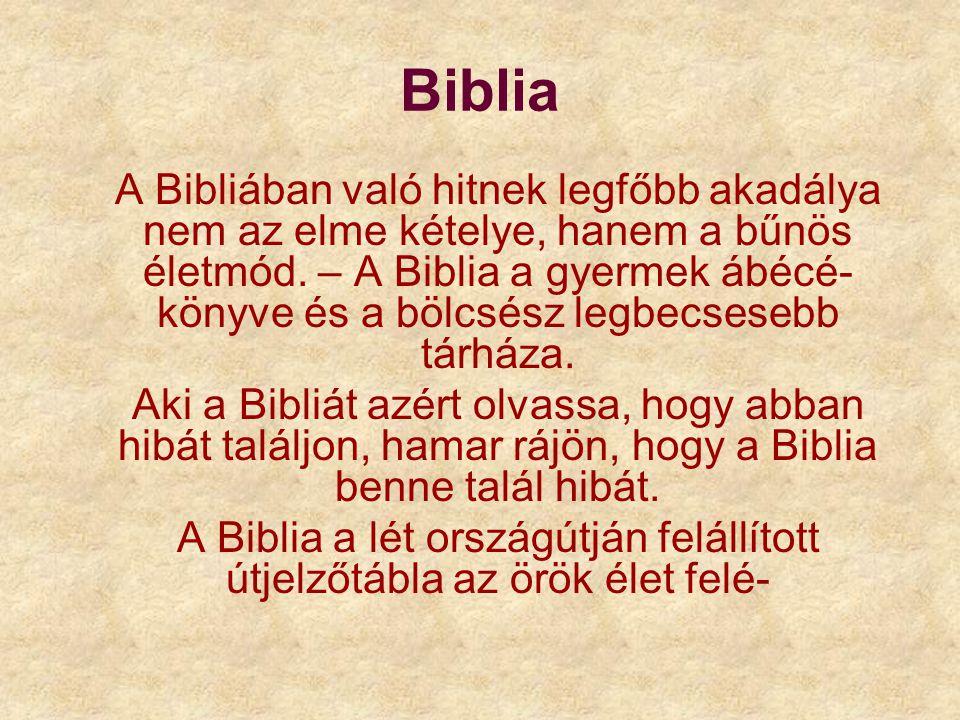 A Biblia a lét országútján felállított útjelzőtábla az örök élet felé-