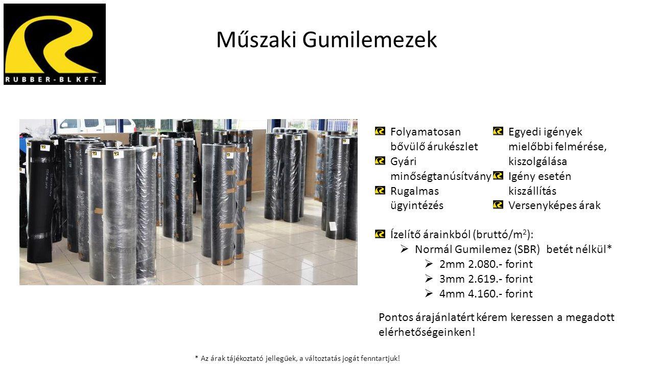 Műszaki Gumilemezek Folyamatosan bővülő árukészlet