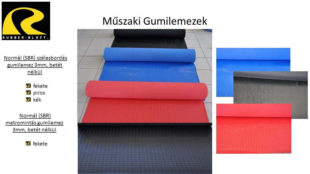 Műszaki Gumilemezek Normál (SBR) szélesbordás gumilemez 3mm, betét nélkül. fekete. piros. kék.