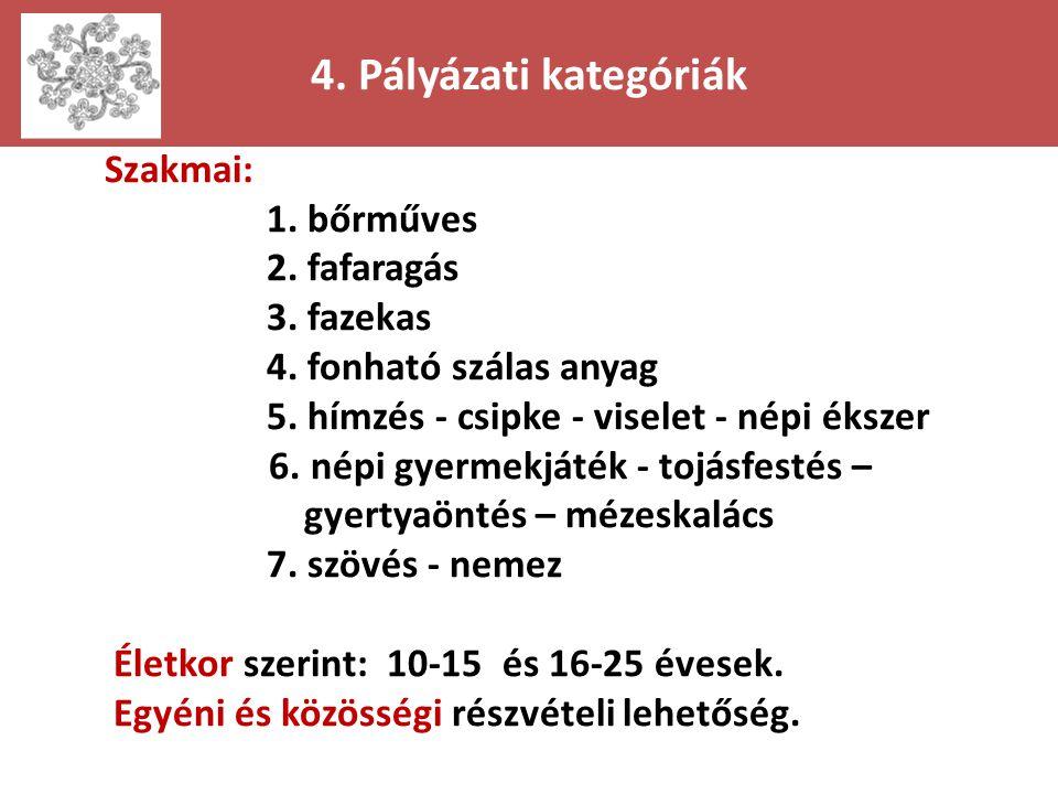 4. Pályázati kategóriák Szakmai: 1. bőrműves 2. fafaragás 3. fazekas