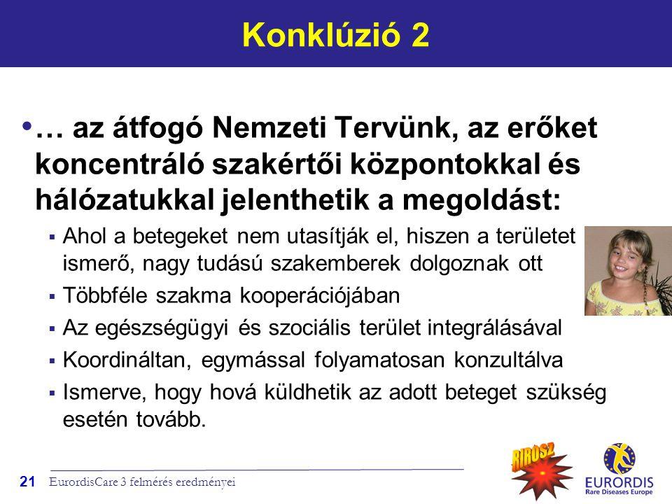 Konklúzió 2 … az átfogó Nemzeti Tervünk, az erőket koncentráló szakértői központokkal és hálózatukkal jelenthetik a megoldást: