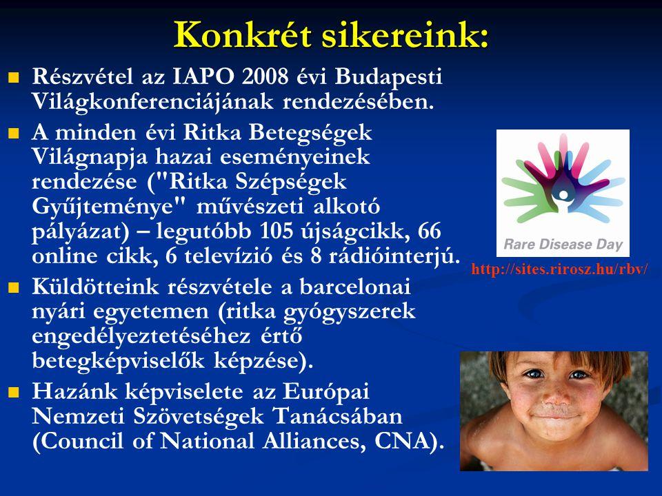 Konkrét sikereink: Részvétel az IAPO 2008 évi Budapesti Világkonferenciájának rendezésében.