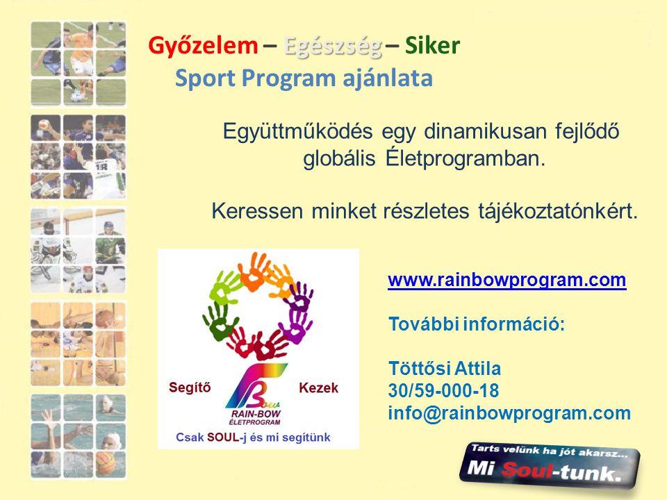 Győzelem – Egészség – Siker Sport Program ajánlata