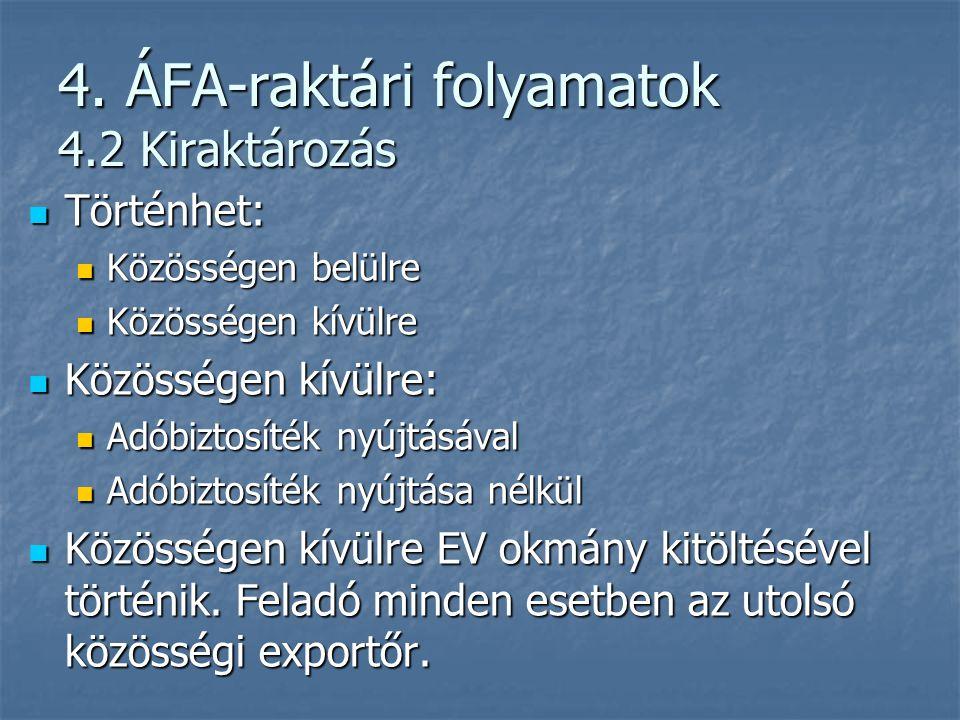 4. ÁFA-raktári folyamatok 4.2 Kiraktározás