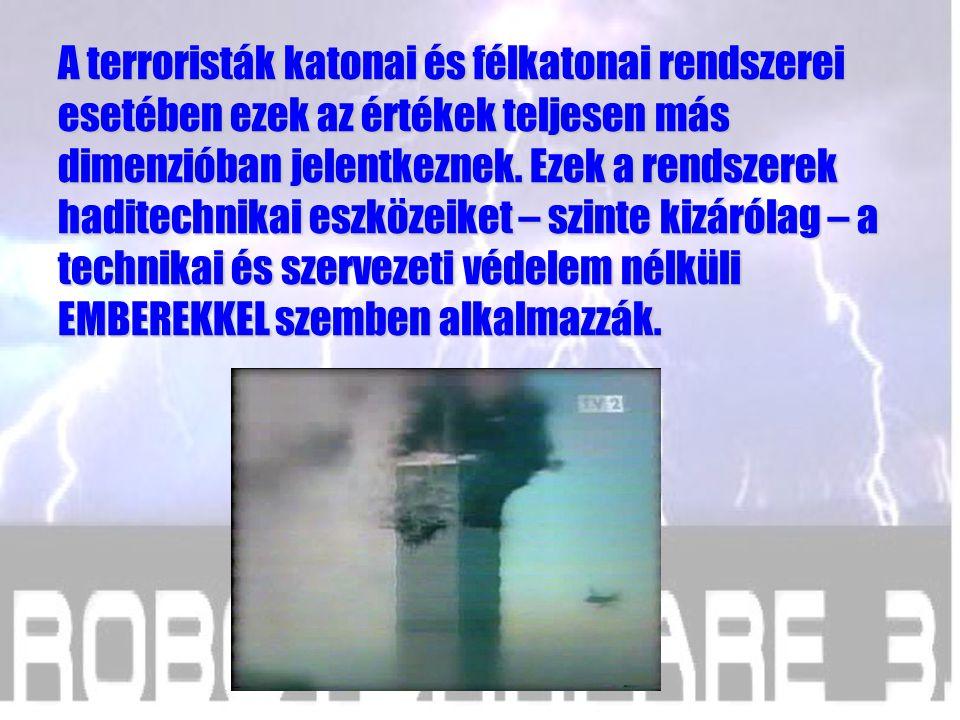 A terroristák katonai és félkatonai rendszerei esetében ezek az értékek teljesen más dimenzióban jelentkeznek.