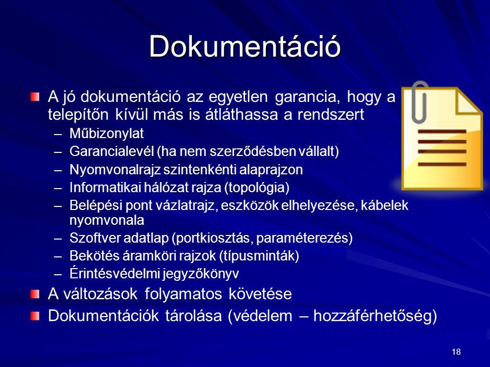 Dokumentáció A jó dokumentáció az egyetlen garancia, hogy a telepítőn kívül más is átláthassa a rendszert.