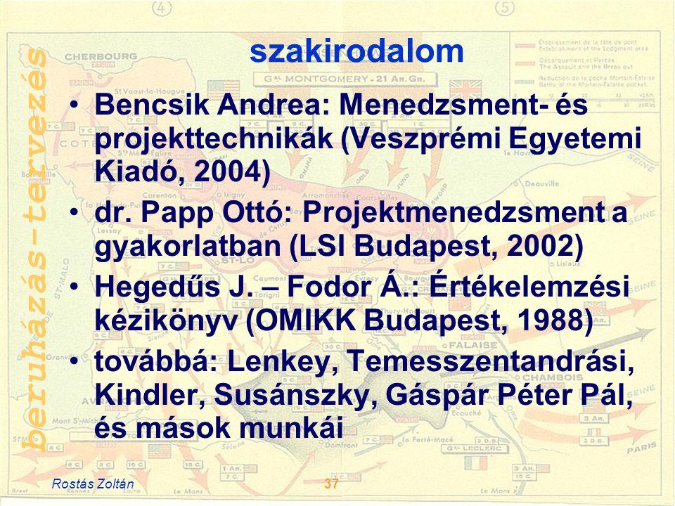 szakirodalom Bencsik Andrea: Menedzsment- és projekttechnikák (Veszprémi Egyetemi Kiadó, 2004)