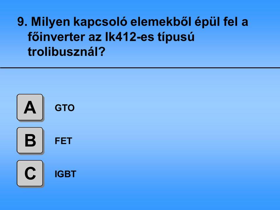 9. Milyen kapcsoló elemekből épül fel a főinverter az Ik412-es típusú trolibusznál