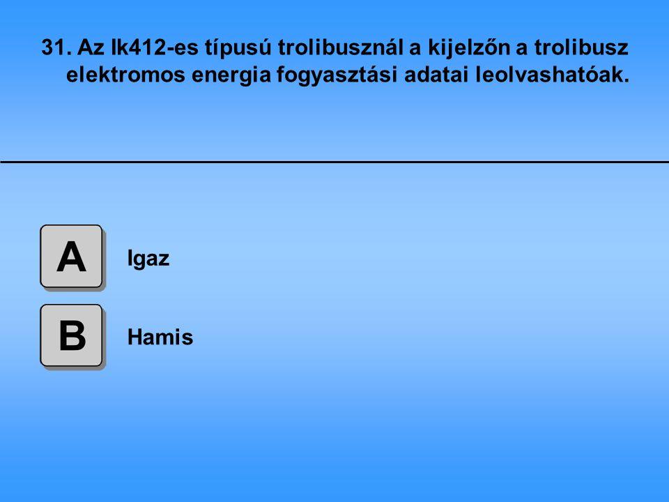 31. Az Ik412-es típusú trolibusznál a kijelzőn a trolibusz elektromos energia fogyasztási adatai leolvashatóak.