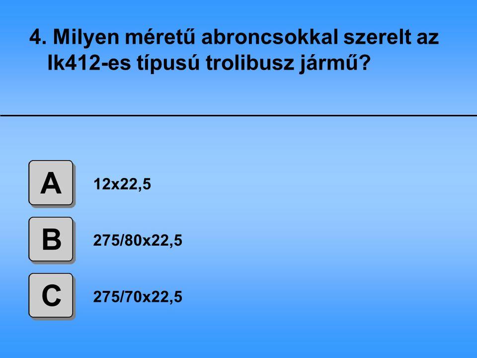 4. Milyen méretű abroncsokkal szerelt az Ik412-es típusú trolibusz jármű