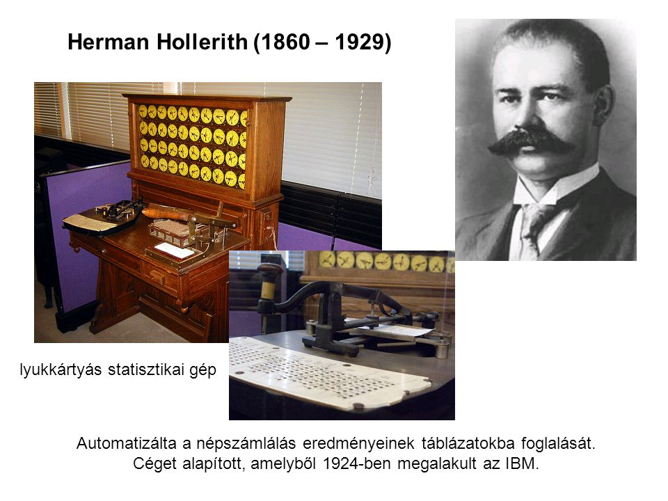 Herman Hollerith (1860 – 1929) lyukkártyás statisztikai gép