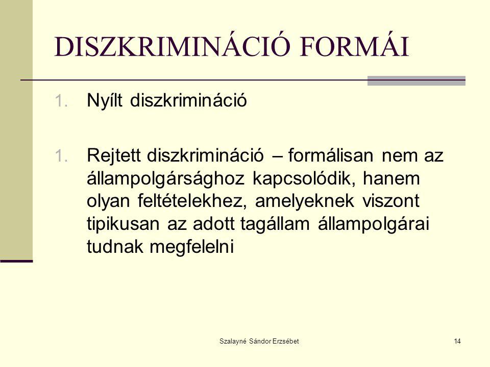 DISZKRIMINÁCIÓ FORMÁI