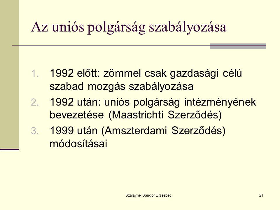 Az uniós polgárság szabályozása