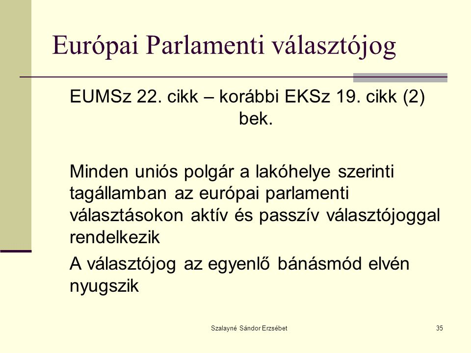 Európai Parlamenti választójog