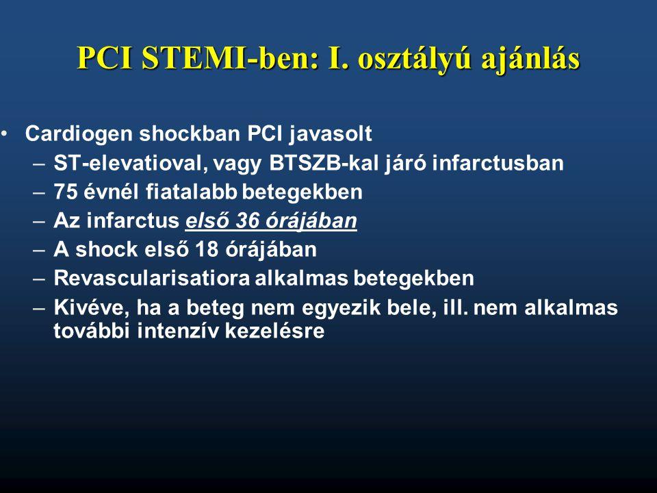 PCI STEMI-ben: I. osztályú ajánlás
